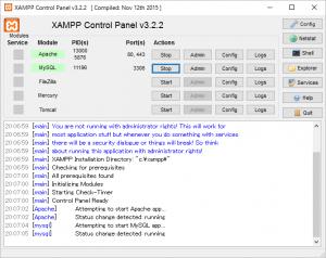 XAMPP画面
